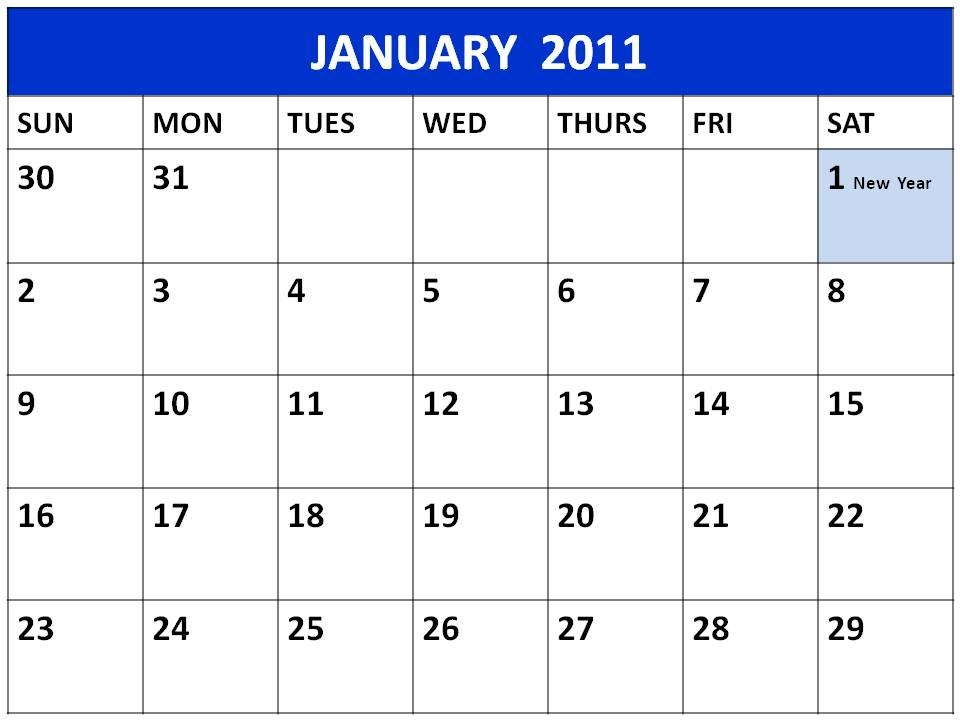 january 2011 calendar with holidays. January 2011 calendar of