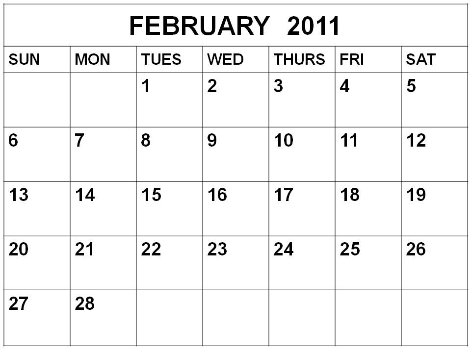 To download and print this Free Monthly Blank Calendar 2011 February: