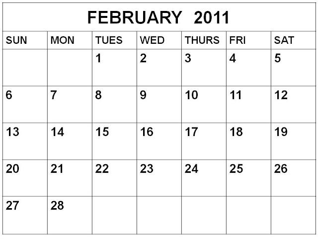 free printable blank calendars 2011. Blank Calendar February 2011