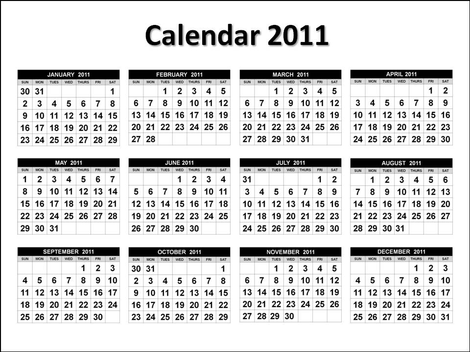 2011 Calendar on one page (horizontal), free to download and print