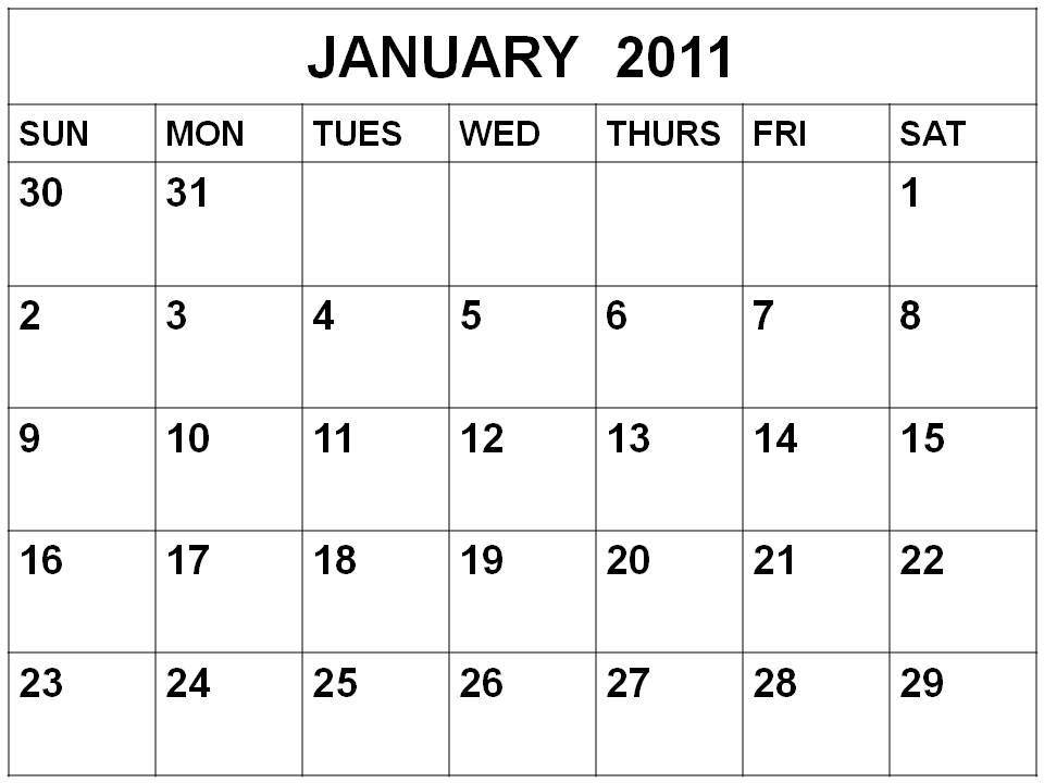 To download and print these Free Blank Monthly Calendar 2011 January :