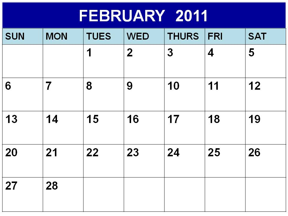 Download this Printable PDF February 2011 Calendar by clicking the image or
