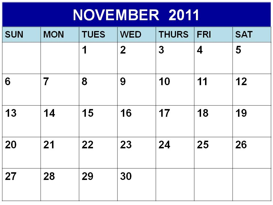 Blank November 2011 Calendar Printable Template