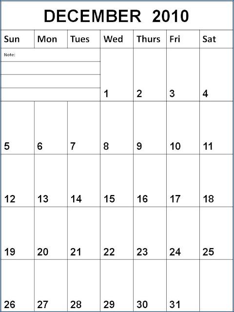 calendar 2010 december. Blank December 2010 Calendar