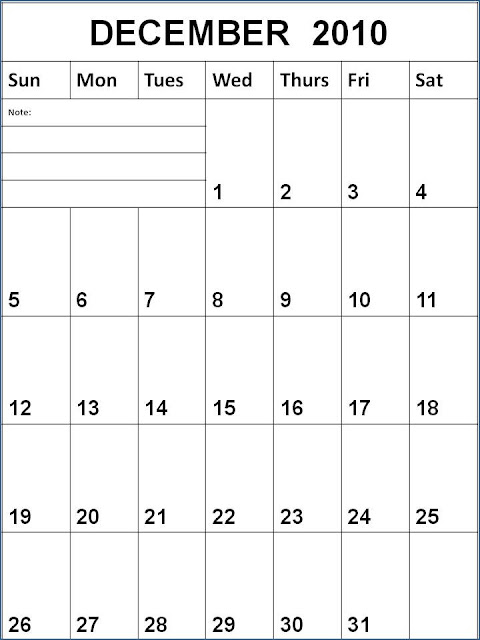 2010 monthly calendar printable. Blank December 2010 Calendar
