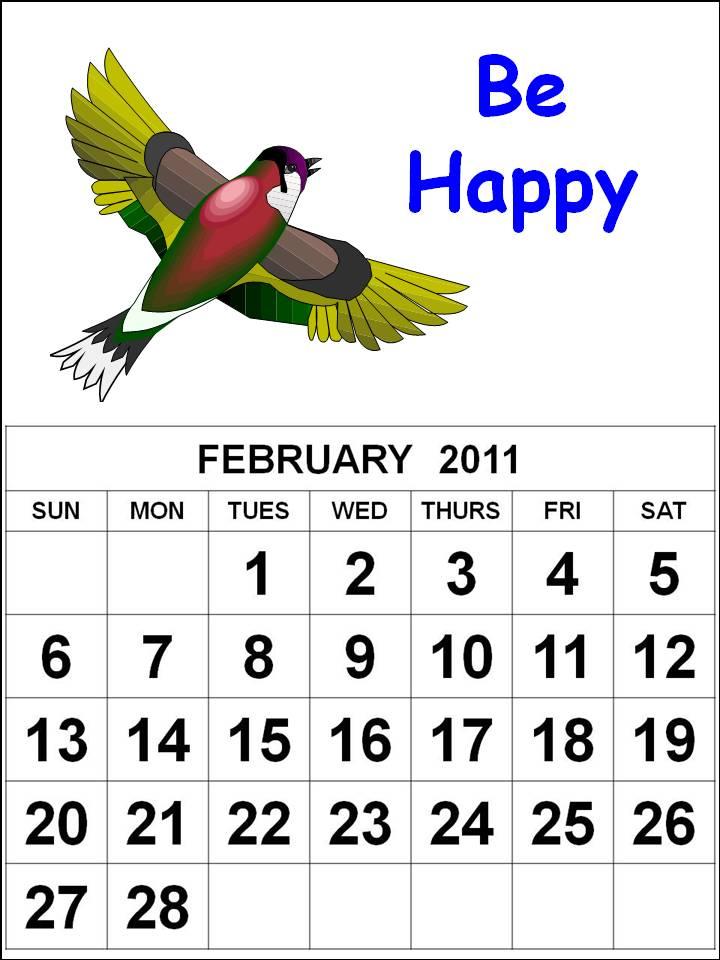 print this Free bird cartoon kids or children Calendar February 2011 ...