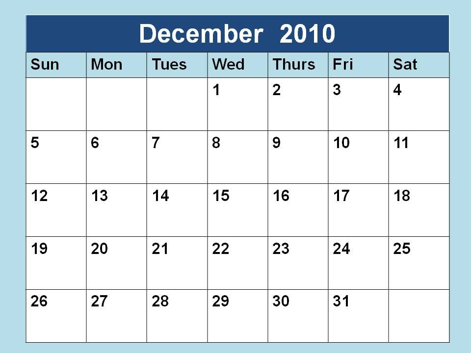 blank calendar 2010. december calendar 2010. Blank