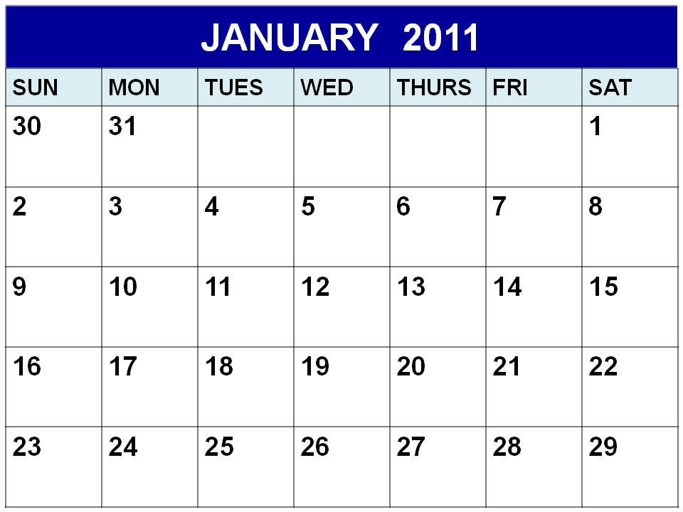 Blank January 2011 Calendar Printable Template