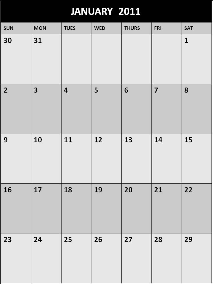 January 2011 Calendar Blank Printable Template