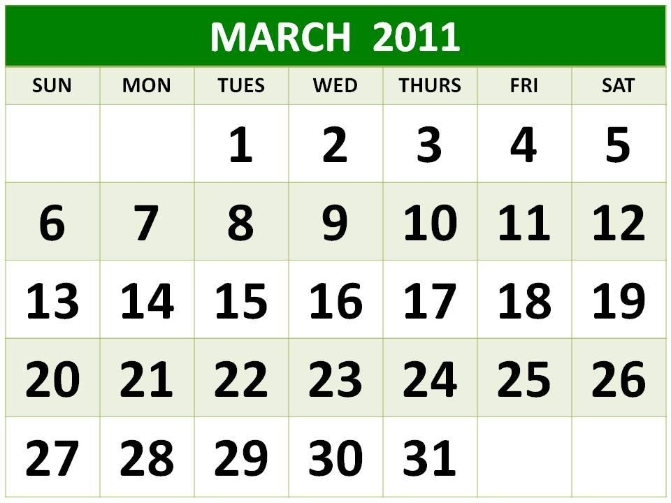 To download and print these Free Big Monthly Calendar 2011 March with big