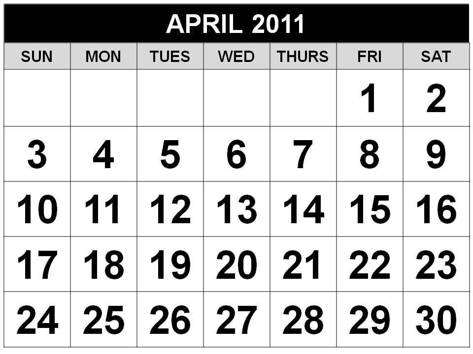 april 2011 calendar. April 2011 Calender