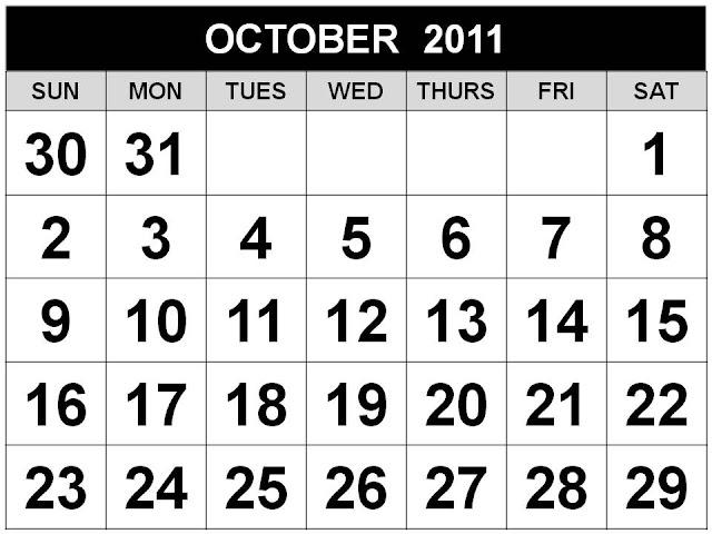 october calendar 2011. october calendar clip art.