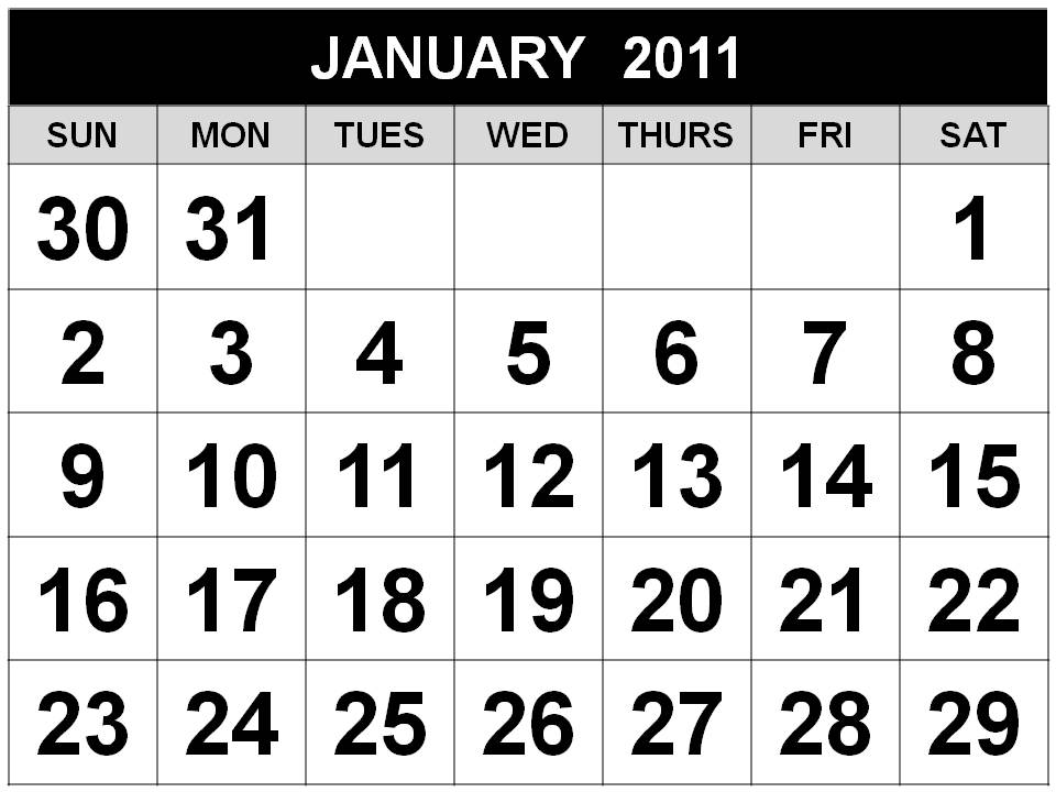 Here is the January 2011 form: Other Free Printable Calendar 2011 Black and