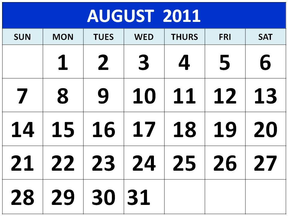 To download and print these Free Big Monthly Calendar 2011 August with big