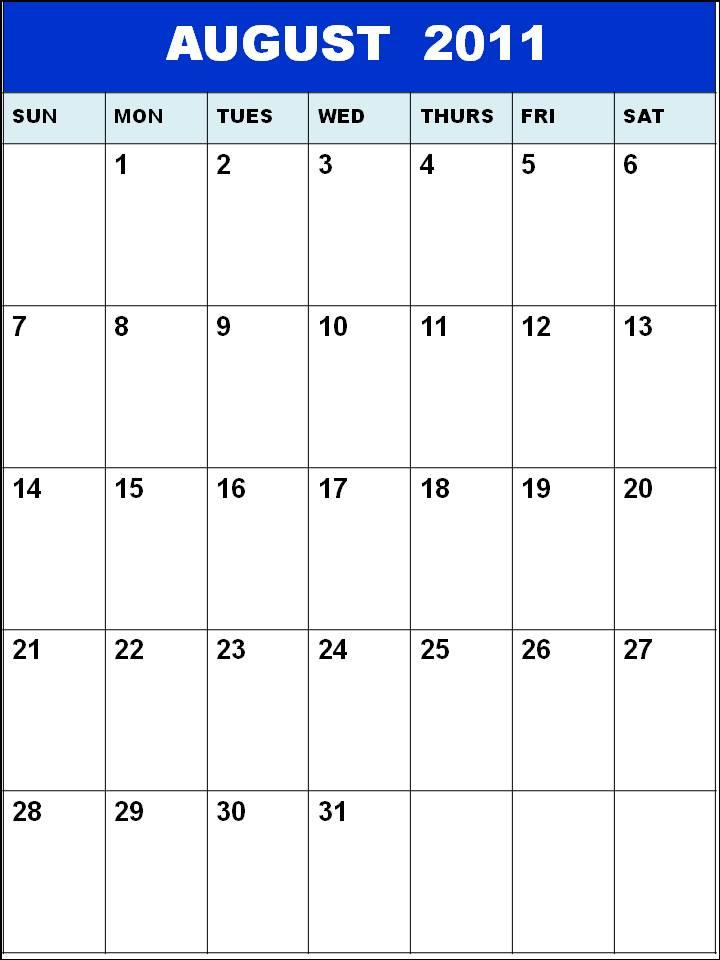 blank august calendar 2011. Blank Calendar 2011 August or;