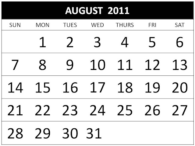 august calendar 2011. august calendar 2011 printable