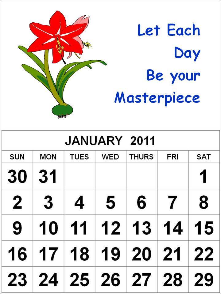 january calendars 2011. Free Homemade Calendar 2011