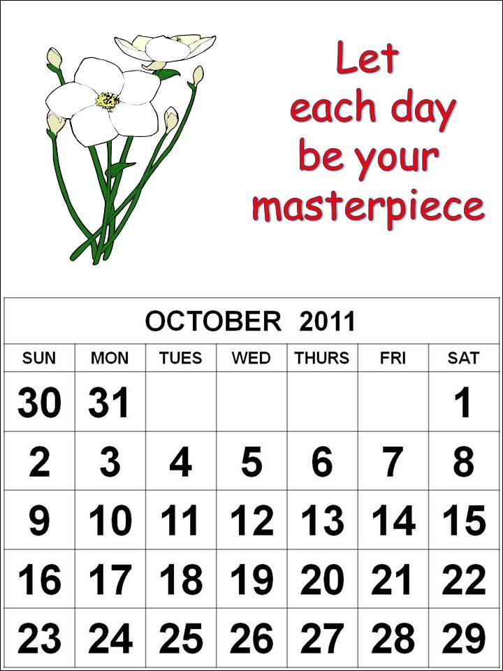 october calendars 2011. calendar for october 2011.
