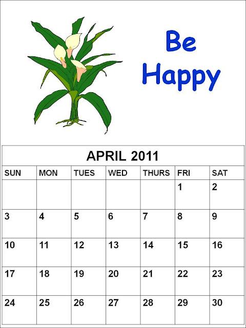 calendars 2011 april. Blank Calendar 2011 April