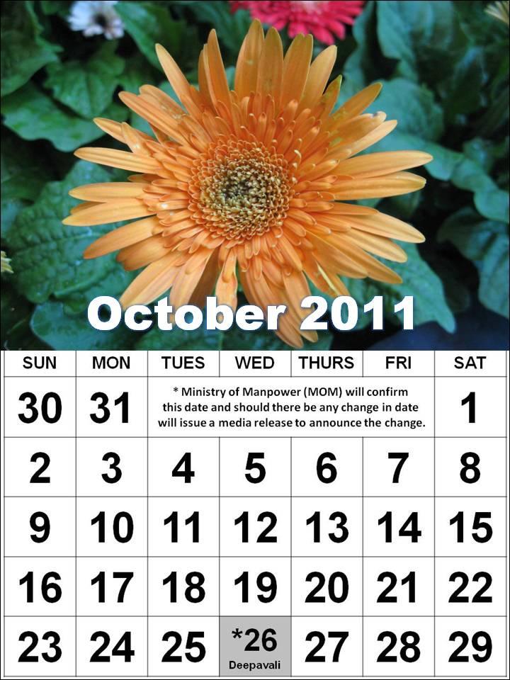 october 2011 calendar with holidays. Calendar 2011 October with
