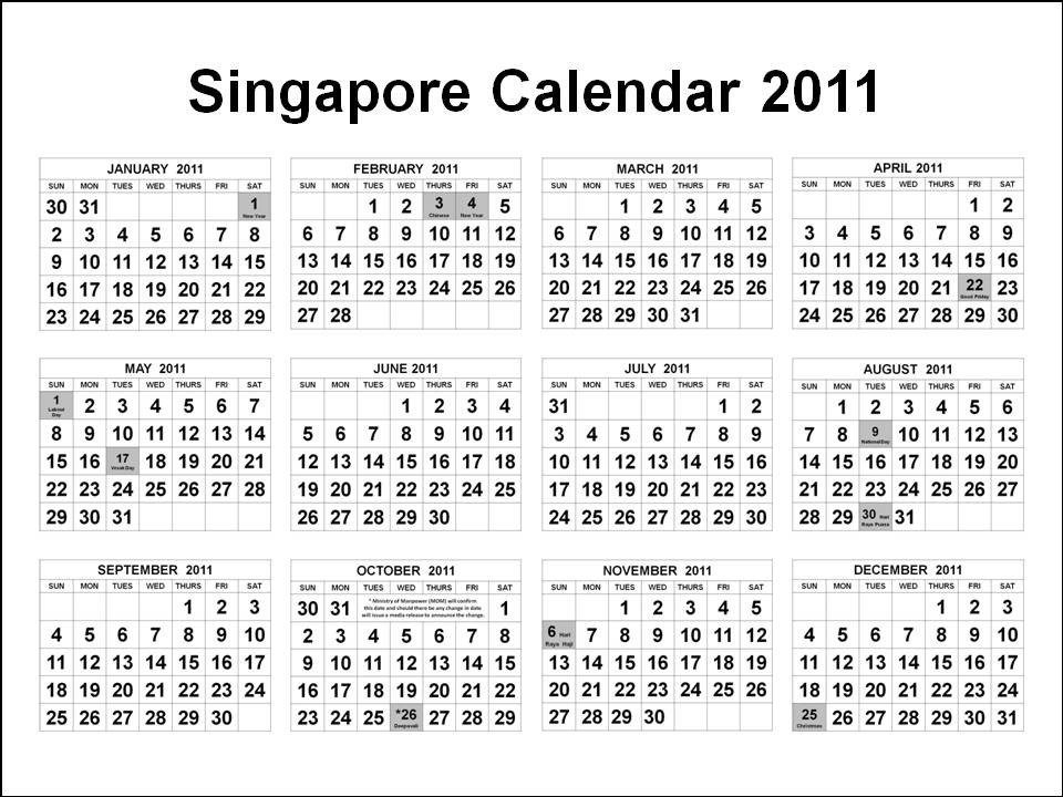 singapore 2011 calendar with public holidays. Singapore Calendars January to December 2011 in one (1) page