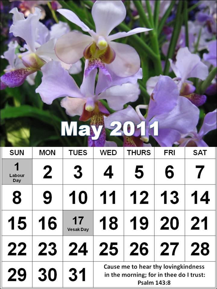 may calendar 2011 singapore. 2011 May Calendar with