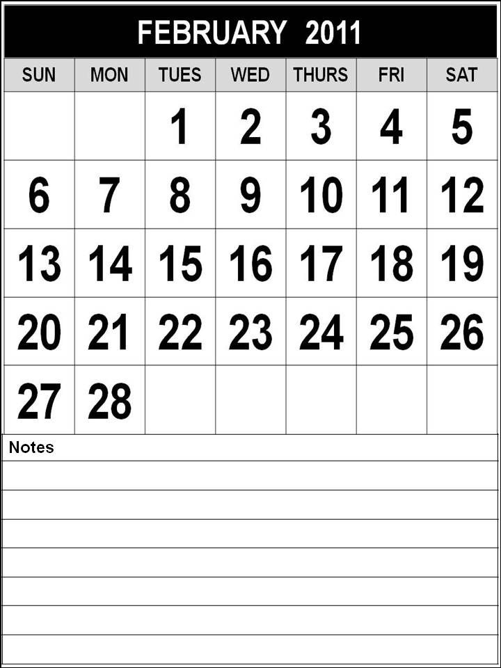 Black and White Printable February 2011 Calendar with notes