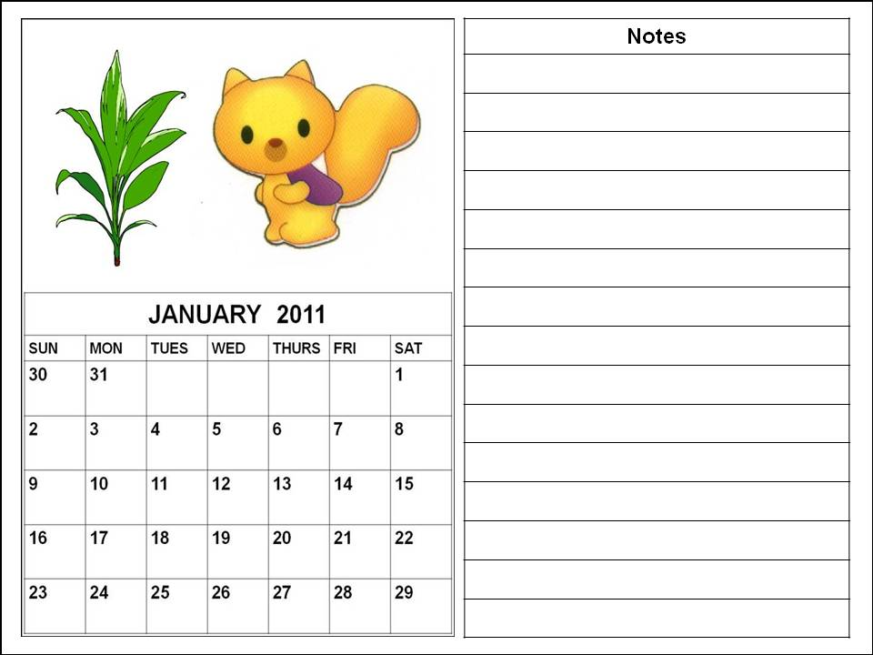Cute Cartoon Calendar Planner 2011 January for kids or children