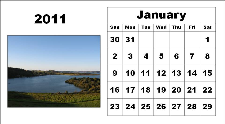 Homemade Printable Calendar 2011 January with big fonts colorful pictures