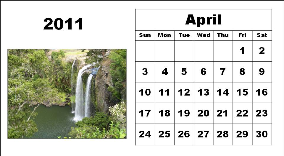 Homemade Printable Calendar 2011 April with big fonts colorful pictures