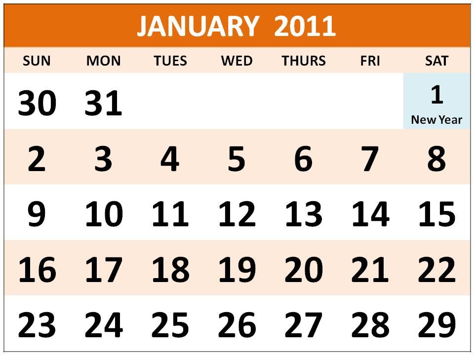 Printable Singapore January 2011 Calendar with Public Holidays (PH)