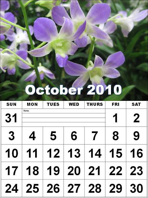 october 2010 calendar printable. Free Homemade Calendar 2010