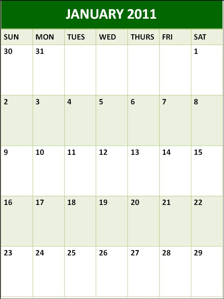 Blank Calendar Planner January 2011 Printable Template
