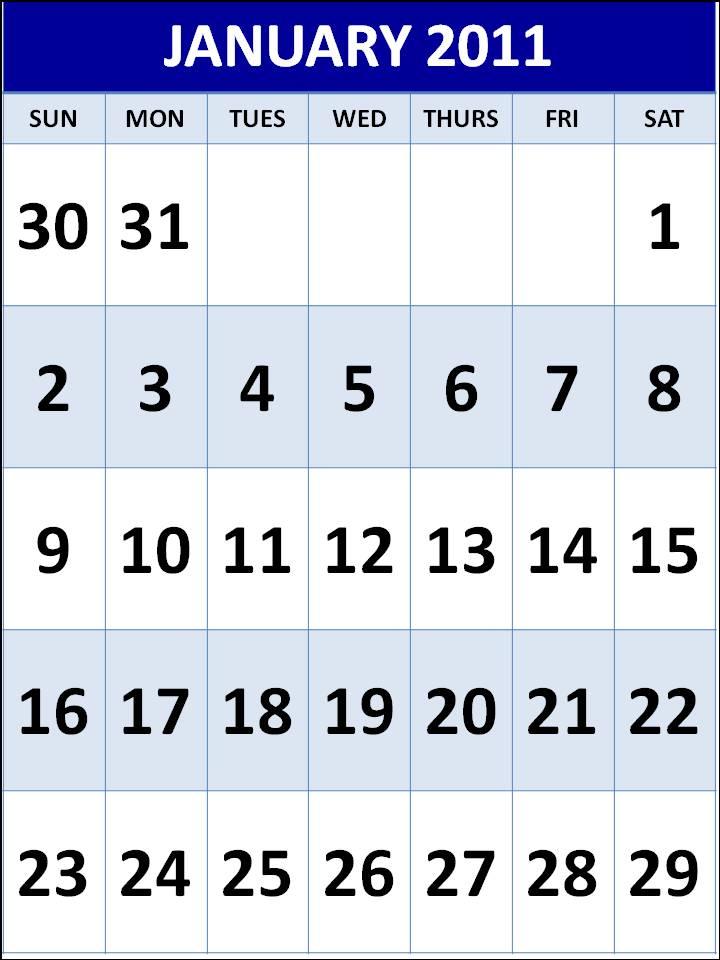 january calendar 2011 template. lank january calendar and
