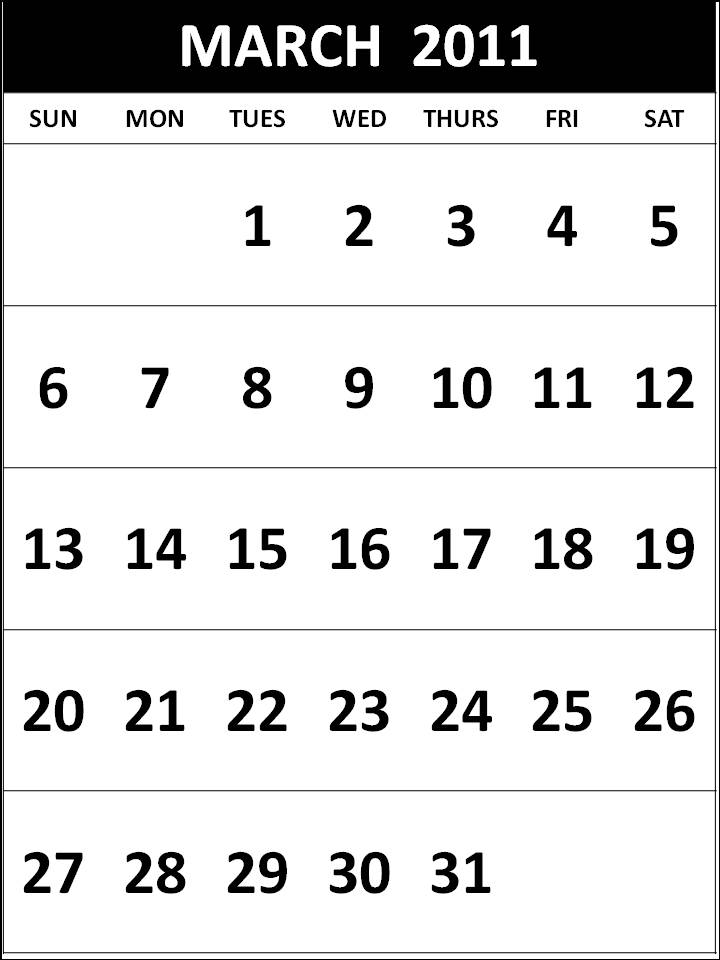 Free Homemade Calendar 2011 March Black and White