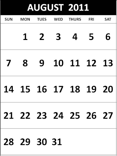 august calendar 2011 printable. Free Homemade Calendar 2011