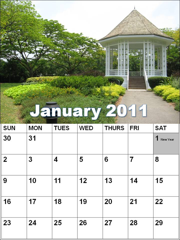 Singapore Blank Calendars 2011 or Singapore Planners 2011 - Vertical