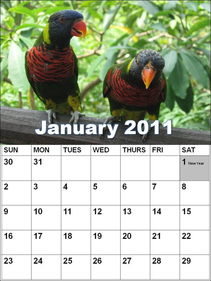 Singapore January 2011 Calendar with Holidays (PH)