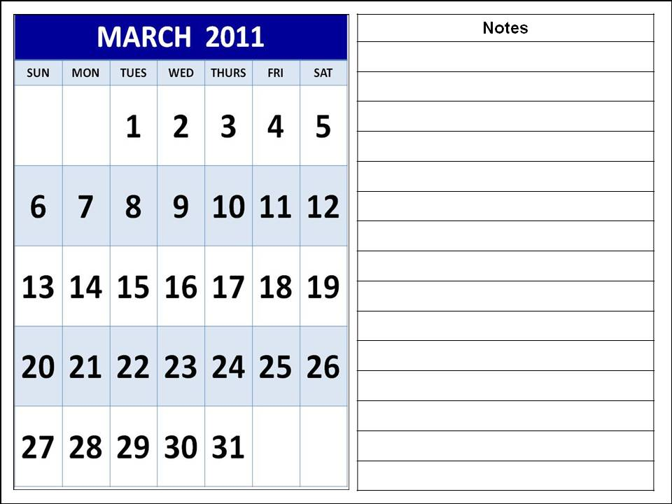 calendar template march. CALENDAR TEMPLATE 2011 MARCH