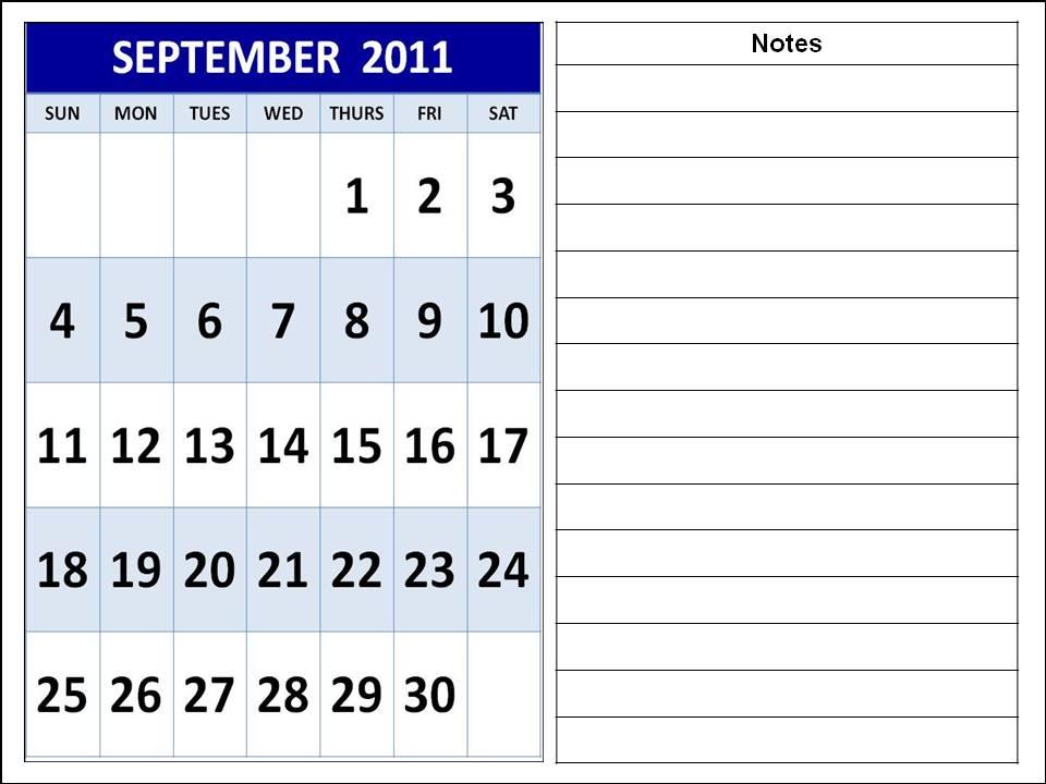 2011 calendar in excel format