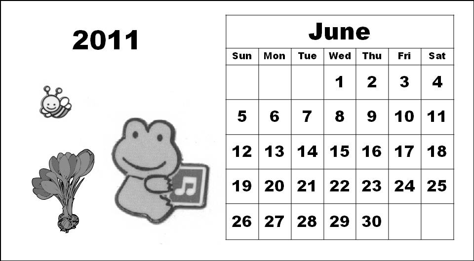 2011 calendar pages. Black and White Cute Cute Cartoons 2011 Calendar Coloring Pages - June 2011