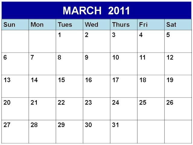 blank calendar march 2011. lank calendar march.