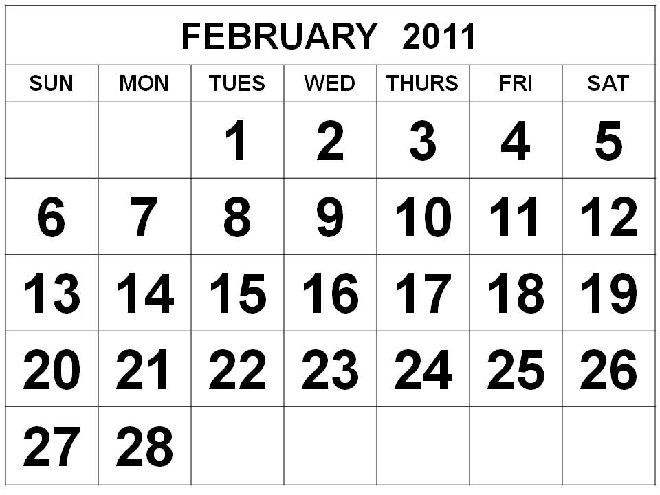 Printable february 2011 calendar Printable monthly calendar 2011 canada