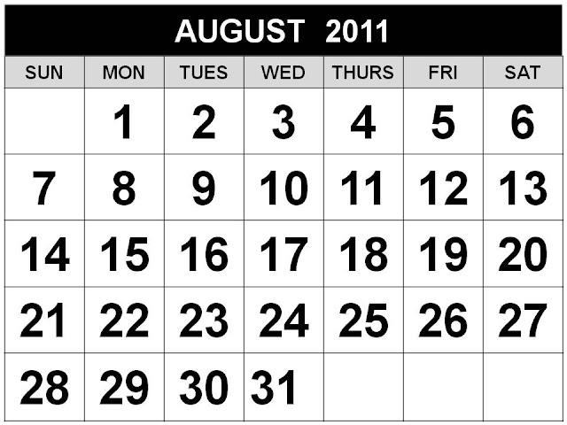printable august 2011 calendar. august calendar themes.