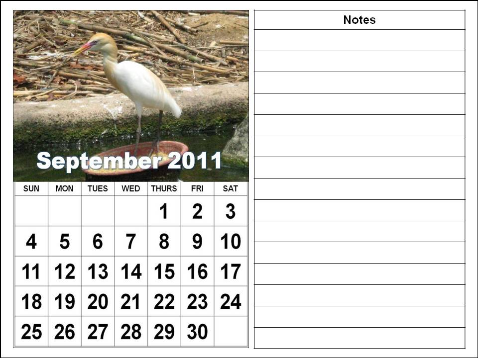 Printable September 2011 Calendar with big fonts and notes spaces