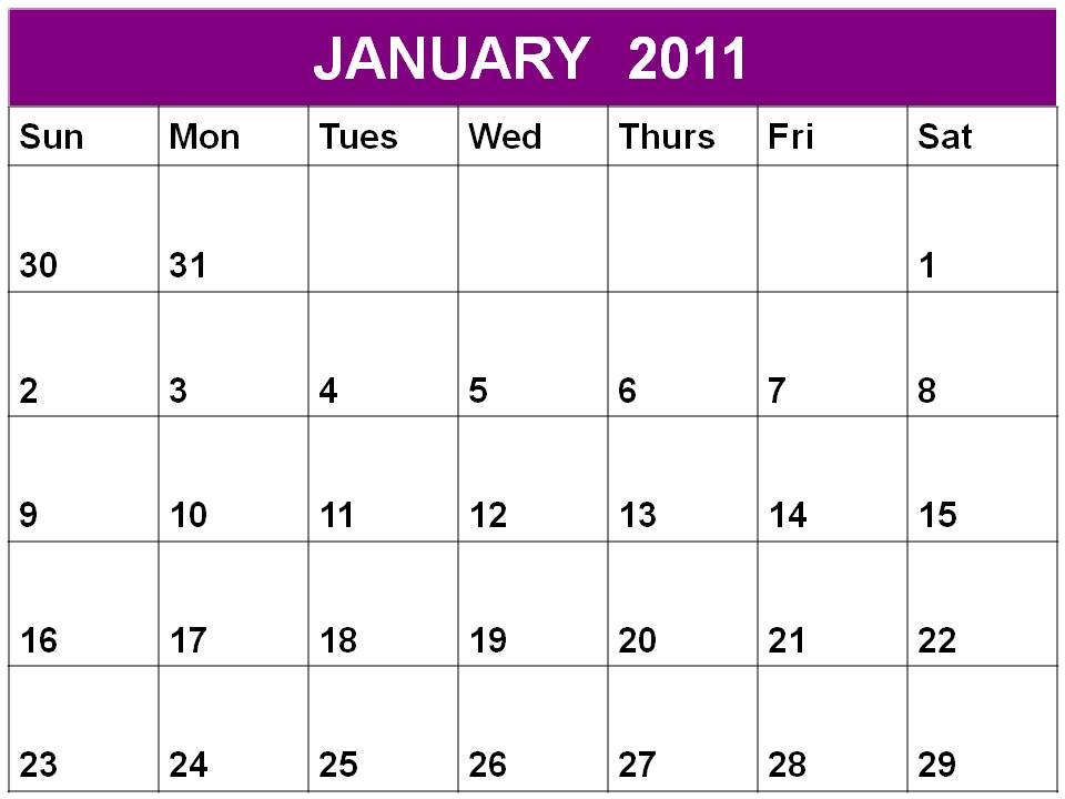 Free printable Planner 2011 January or Blank Calendar January 2011