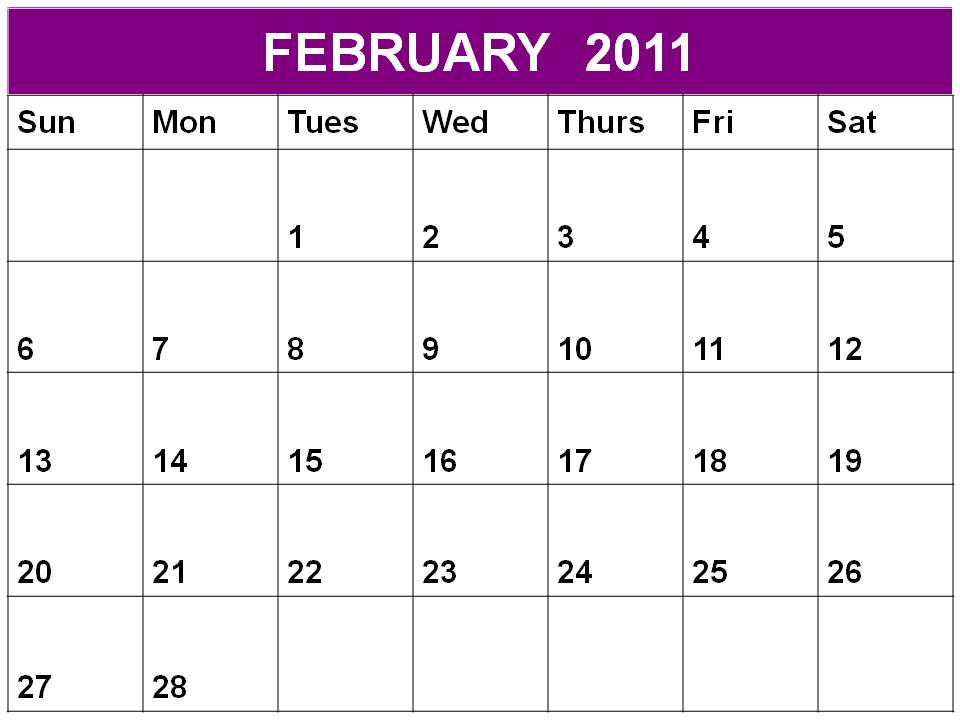 month business calendar