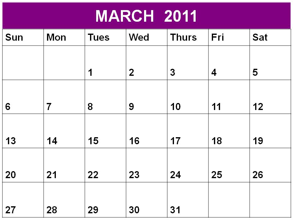 Free printable Planner 2011 March or Blank Calendar March 2011