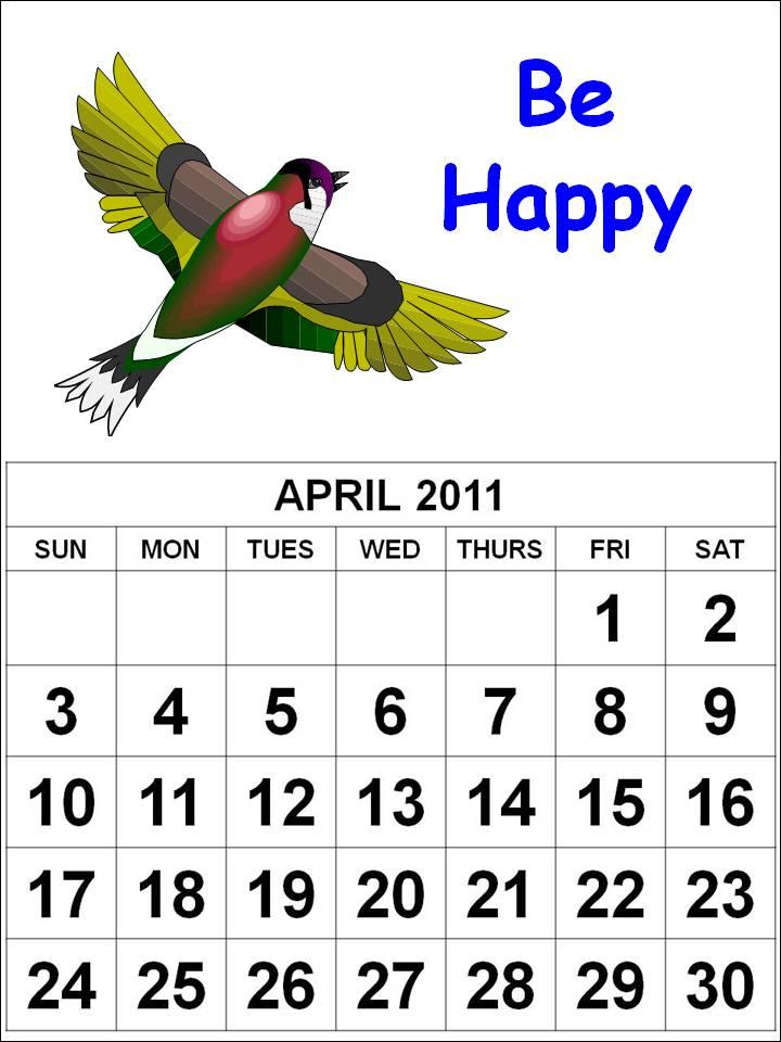 calendars 2011 april. PRINTABLE CALENDAR 2011 APRIL