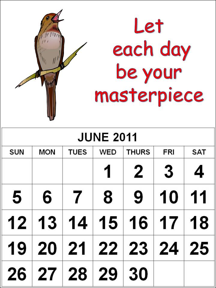 To download and print this Free Monthly Calendar 2011 June: